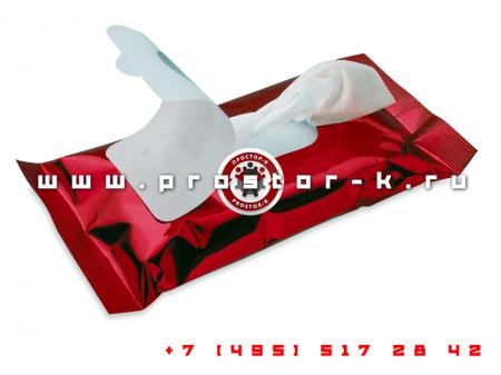 Упаковка влажных салфеток в герметичную упаковку с боковым подбоем
